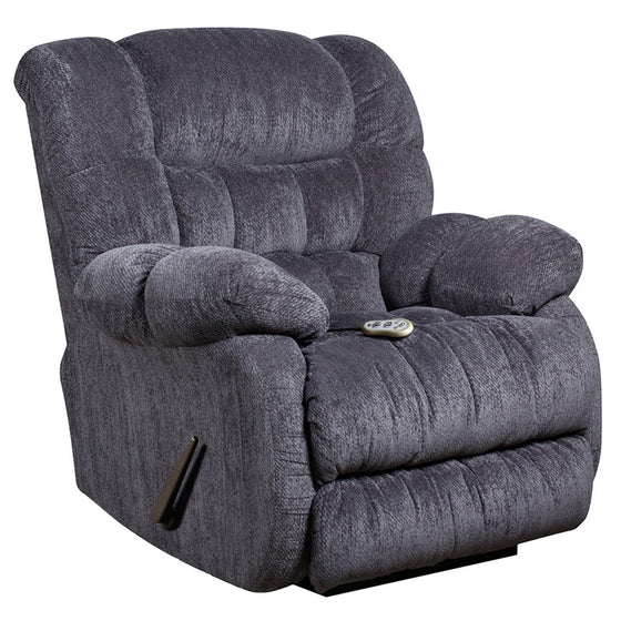Massaging Columbia Blue Microfiber Rocker Recliner with Heat Control - Man Cave Boutique