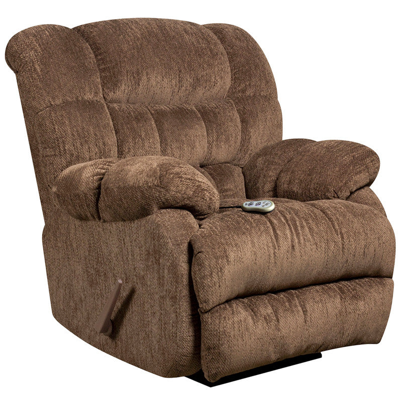Massaging Columbia Mushroom Microfiber Rocker Recliner - Heat Control - Man Cave Boutique