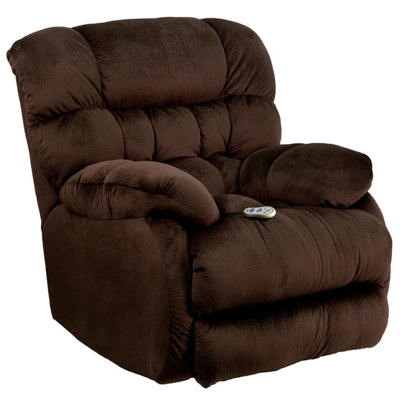 Massaging Sharpei Chocolate Microfiber Rocker Recliner - Heat Control - Man Cave Boutique