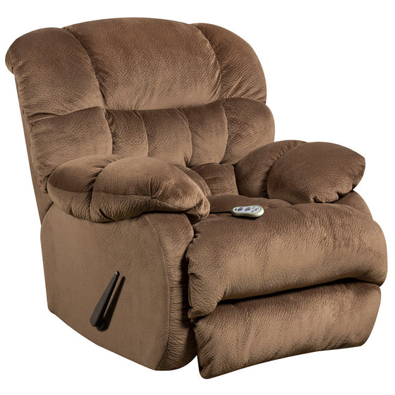 Massaging Sharpei Espresso Microfiber Rocker Recliner w/ Heat Control - Man Cave Boutique
