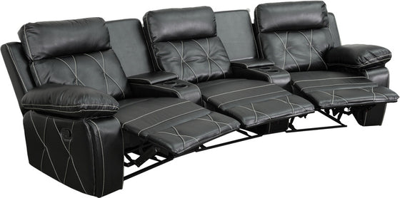 3-SEAT Reclining Black Leather Theater Seating Unit With Curved Cup Holders - Man Cave Boutique