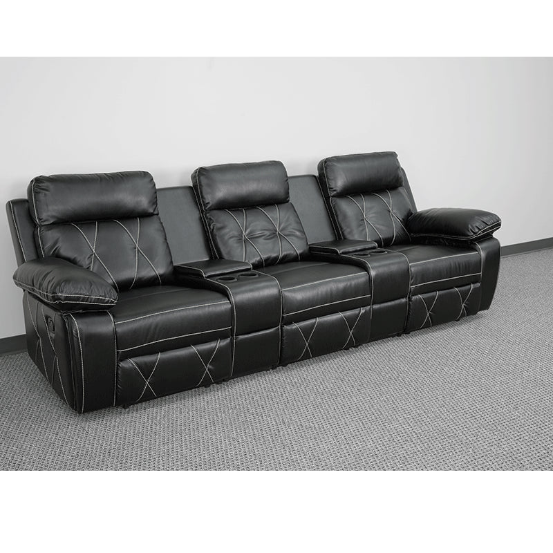 3-SEAT Reclining Black Leather Theater Seating Unit with Cup Holders - Man Cave Boutique