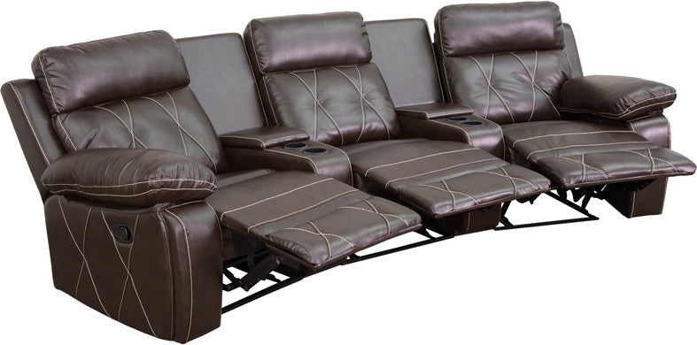 3-SEAT Reclining Brown Leather Theater Seating Unit - Man Cave Boutique