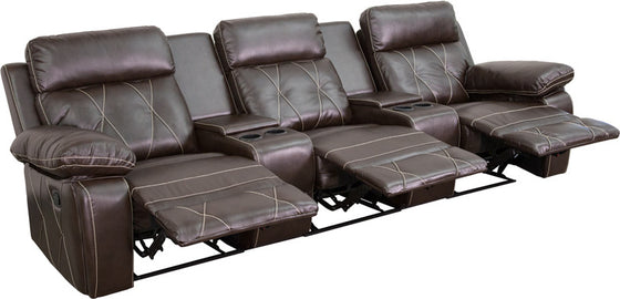 3-SEAT Reclining Brown Leather Seating Unit With Straight Cup Holders - Man Cave Boutique