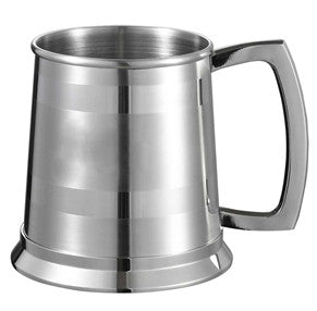 Visol Dual Polished Stripes On Satin Finish 16-oz. Beer Mug - Man Cave Boutique
