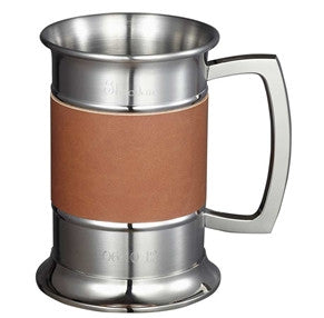 Visol 18 ounce Brown Leather Wrapped Stainless Steel Beer Tankard - Man Cave Boutique
