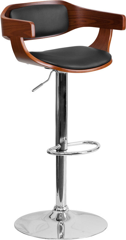 Walnut Bentwood Adjustable Height Barstool w/Black Vinyl Upholstery - Man Cave Boutique