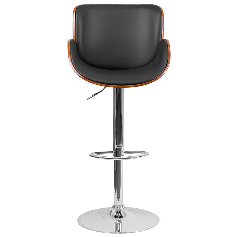Walnut Adjustable Height Bar Stool With Curved Black Vinyl Seat - Man Cave Boutique