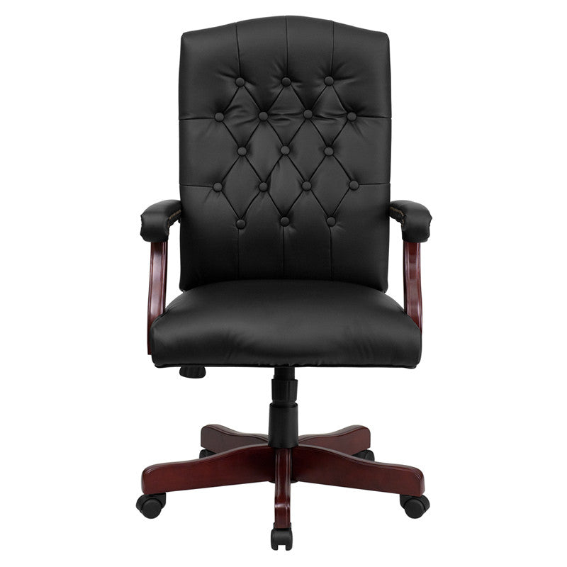 Martha Washington Black Leather Executive Swivel Office Chair - Man Cave Boutique