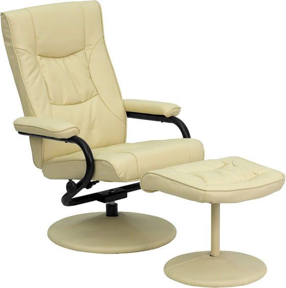 Contemporary Cream Leather Recliner & Ottoman w/ Leather Wrapped Base - Man Cave Boutique