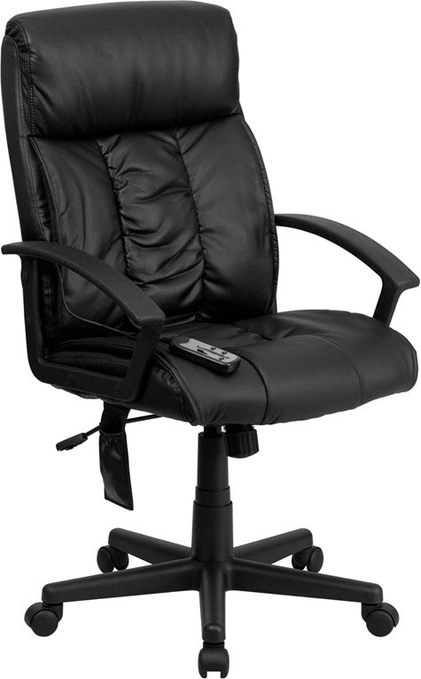 High Back Massaging Black Leather Executive Office Chair BT-9578P-GG - Man Cave Boutique