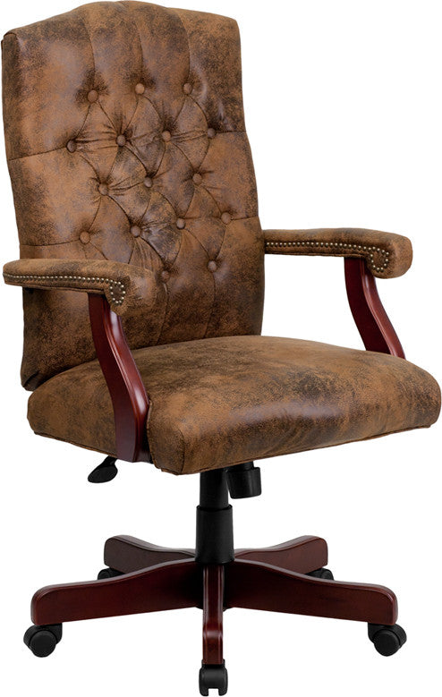 Classic Executive Brown Ultra-Suede Swivel Office Chair - Man Cave Boutique