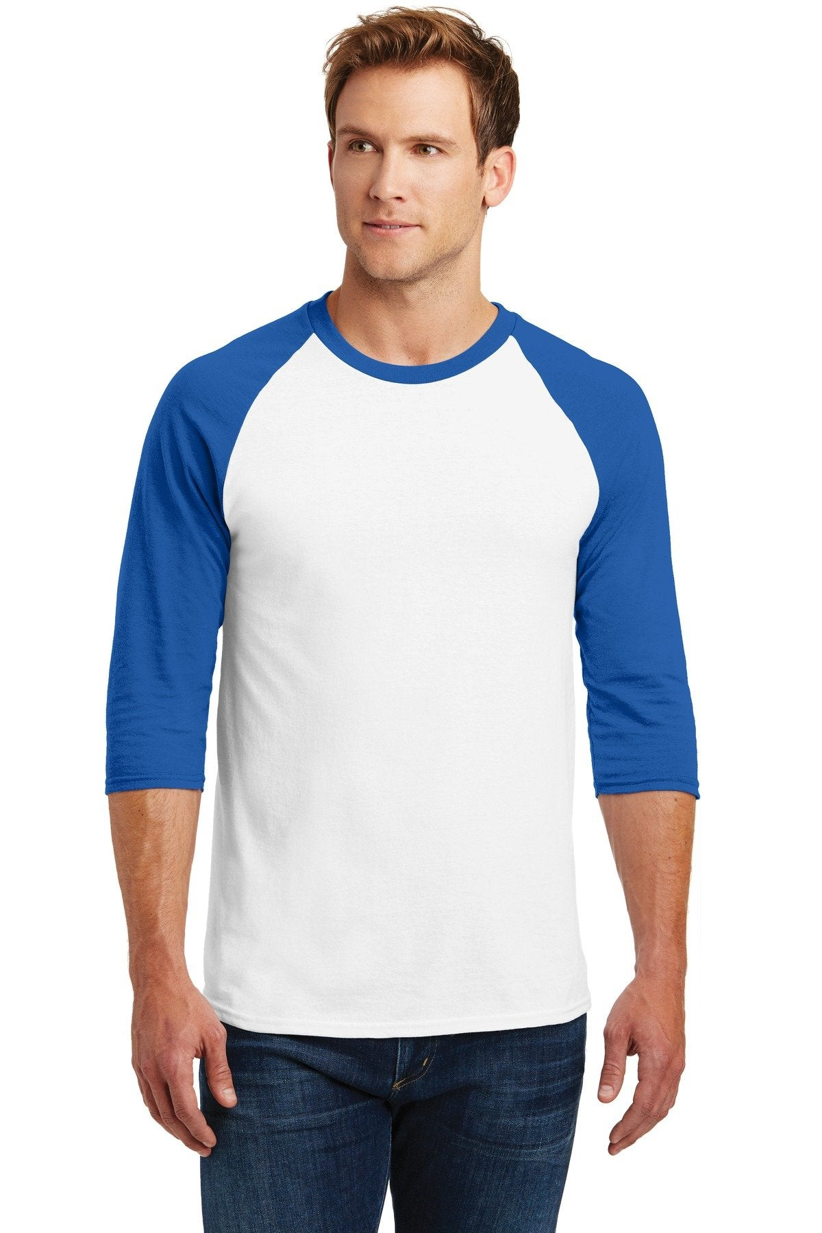 White/ Royal - Gildan 5700