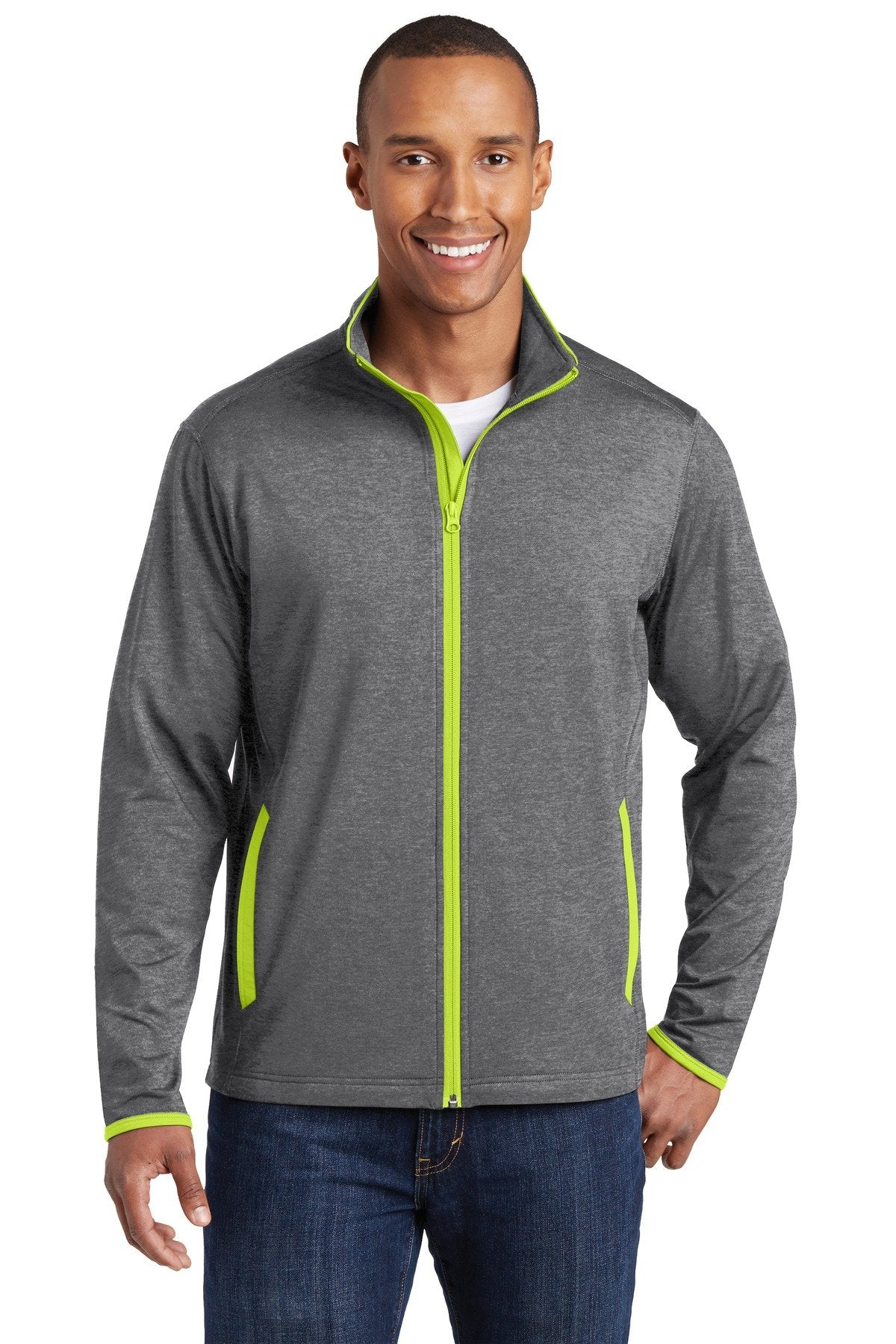 Charcoal Grey Heather/ Charge Green - Sport-Tek ST853