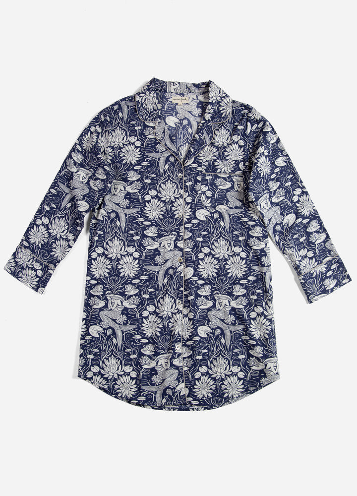 Water Lily Sleep Shirt - Indigo