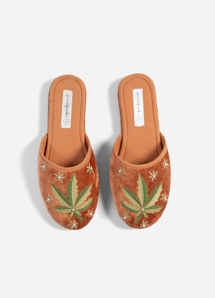 Just a Weed Velvet Slippers