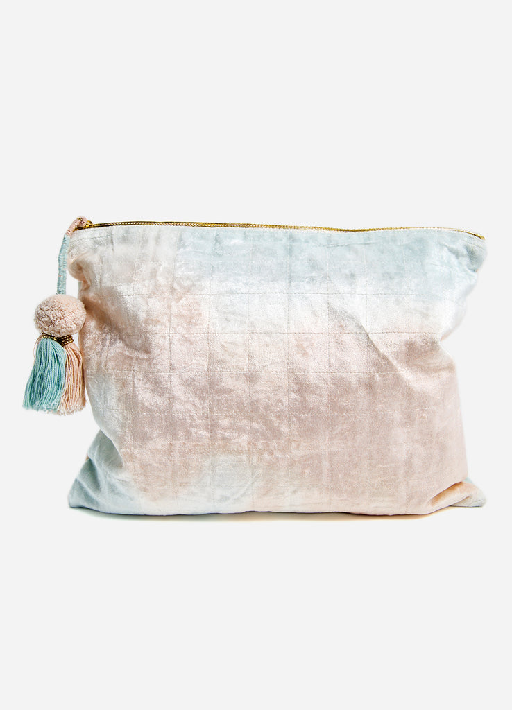 Blue + Blush Fade Velvet Oversized Pouch