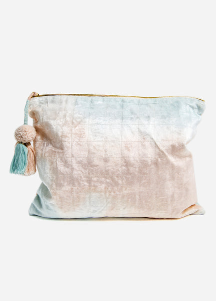 Blue + Blush Fade <br>Velvet Oversized Pouch