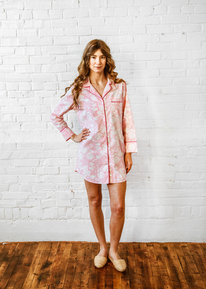Water Lily Sleep Shirt - Blush