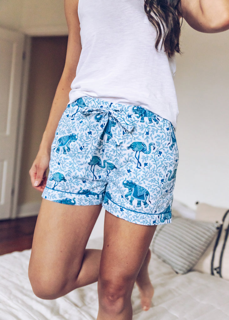 Flamenco Pajama Shorts - Pale Blue