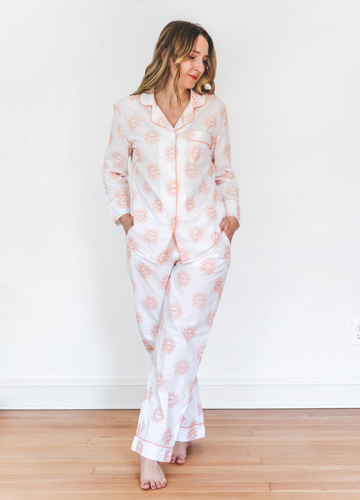 Sunrise Embroidered Long Sleep Set - Peach Cloud