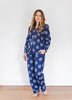 Sunrise Embroidered Long Sleep Set - Indigo