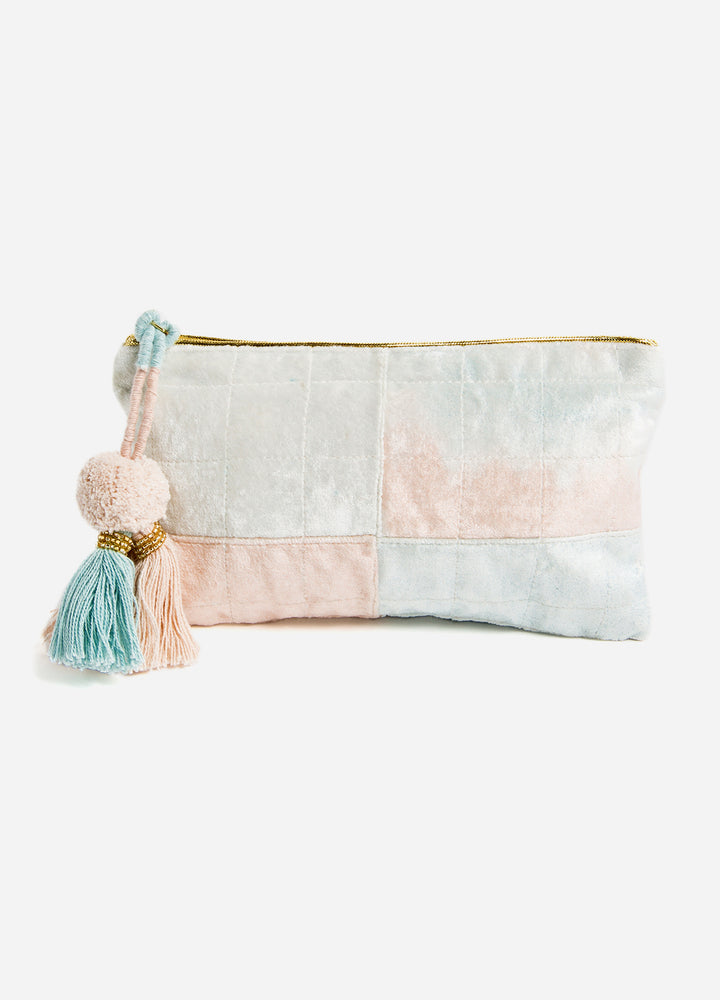 Blue + Blush Fade Velvet Medium Pouch