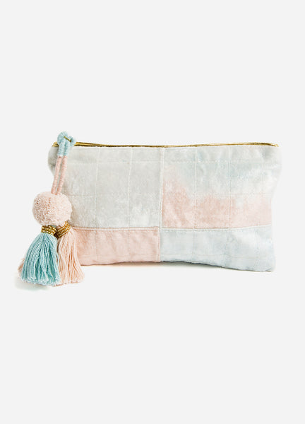 Blue + Blush Fade <br>Velvet Medium Pouch
