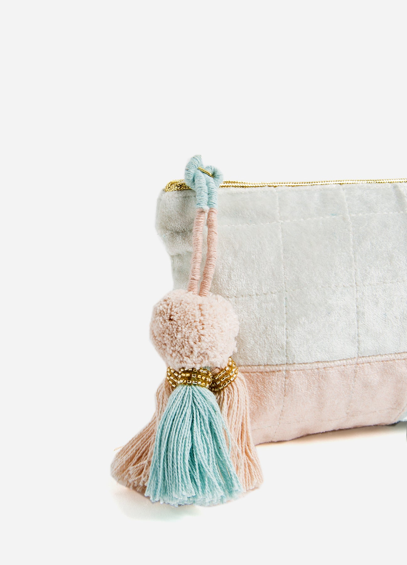 Soft Ombré - Medium Velvet Pouch - Blue/Blush