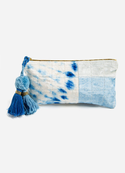 Indigo Diagonal Velvet Medium Pouch