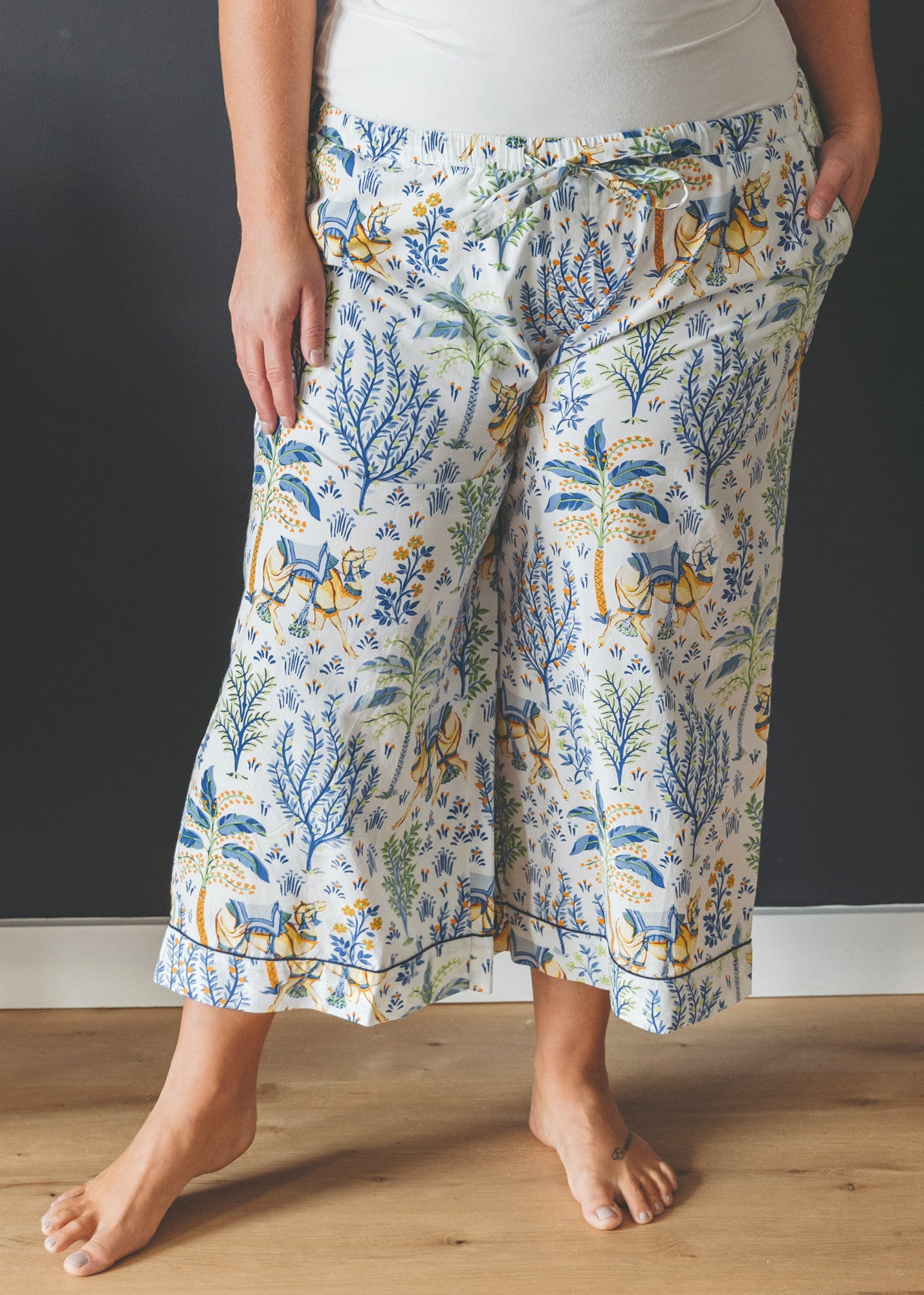 Camel's Courtyard - Cropped Pajama Pants - Cloud