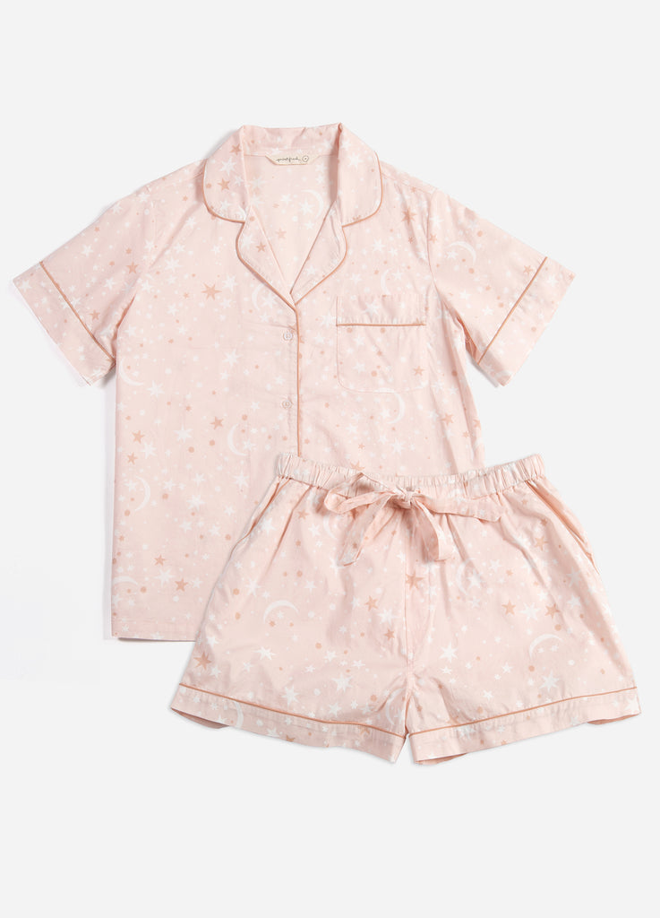 Celestial Skies Short Sleep Set - Blush