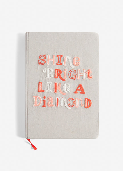 Shine Bright Medium Embroidered Cotton Journal