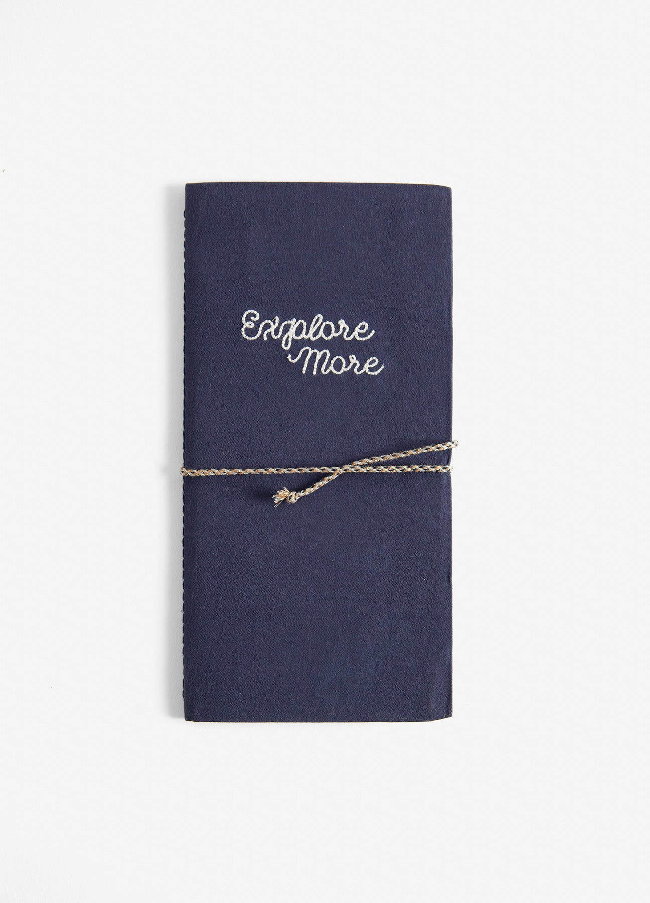Explore More - Embroidered Cotton Travel Journal - Navy