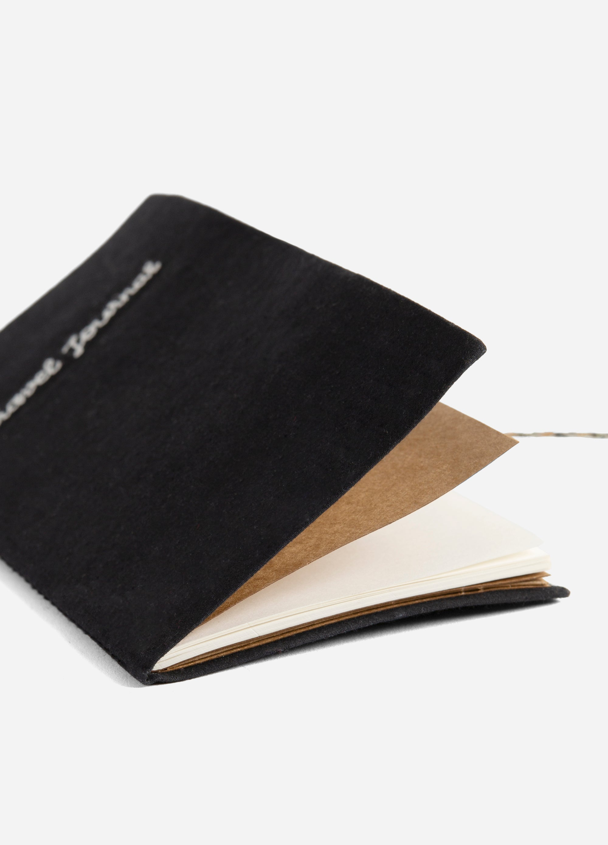 Traveler - Embroidered Cotton Travel Journal - Black