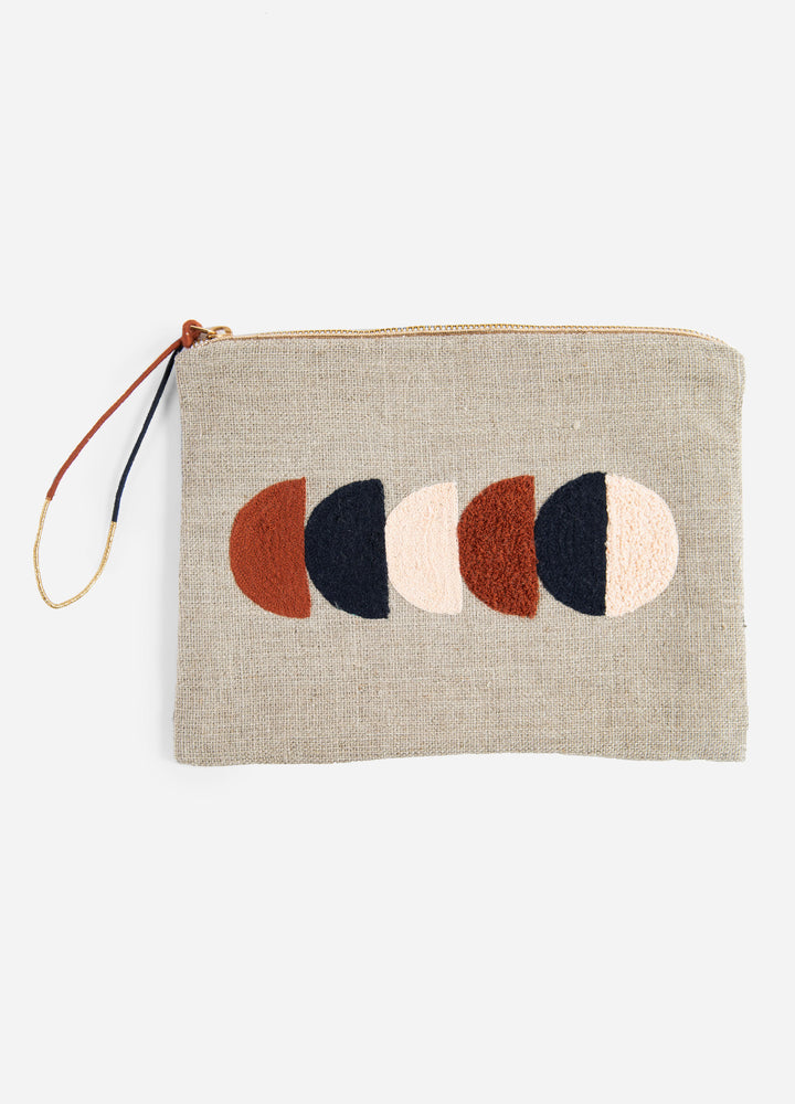Circe Large Embroidered Linen Pouch