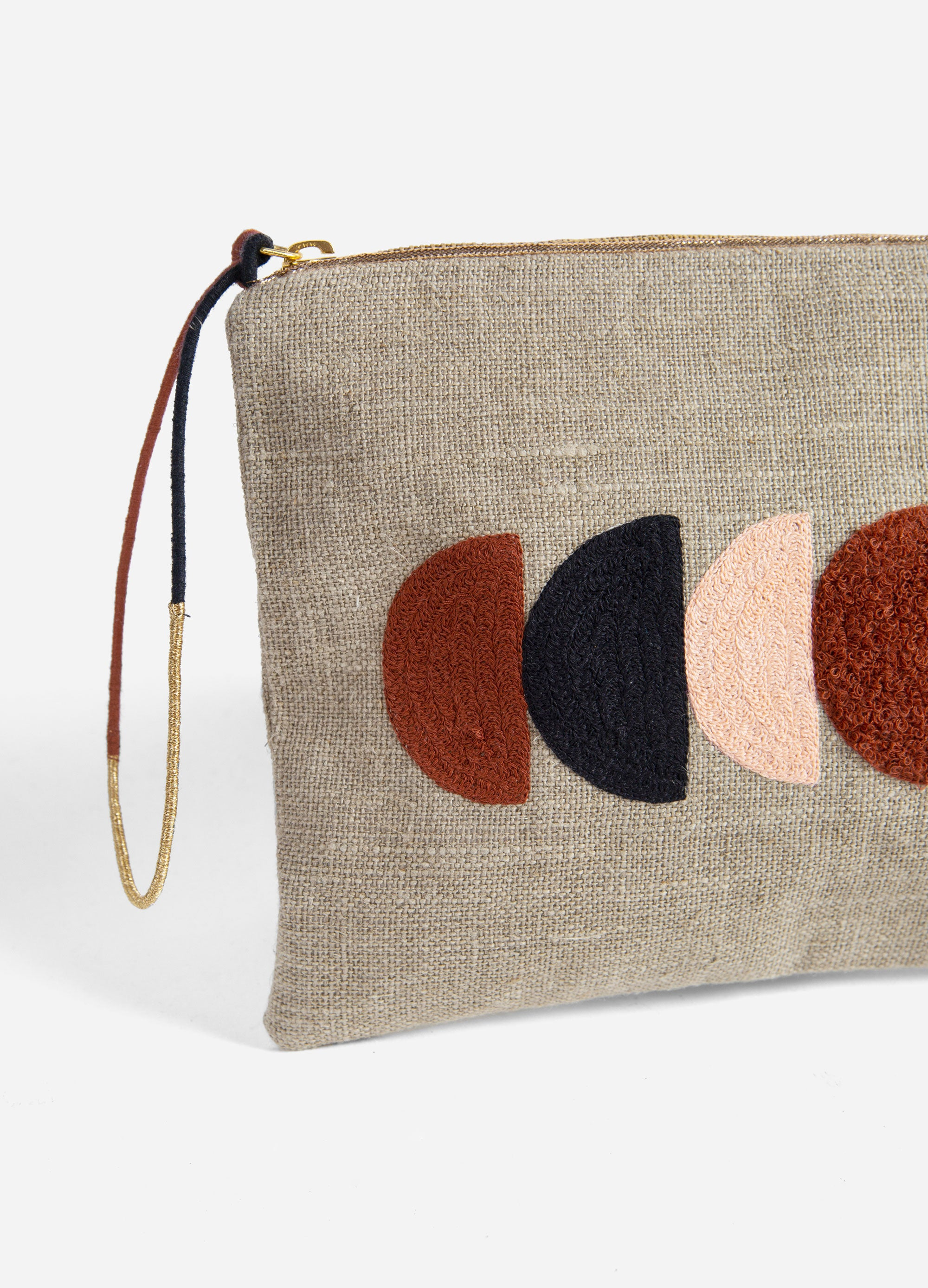 Circe - Embroidered Linen Pouch - Natural/Black