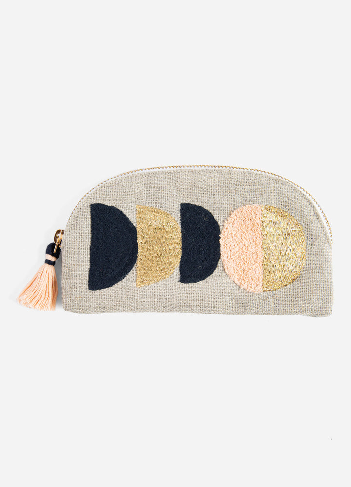Circe Small Embroidered Linen Pouch