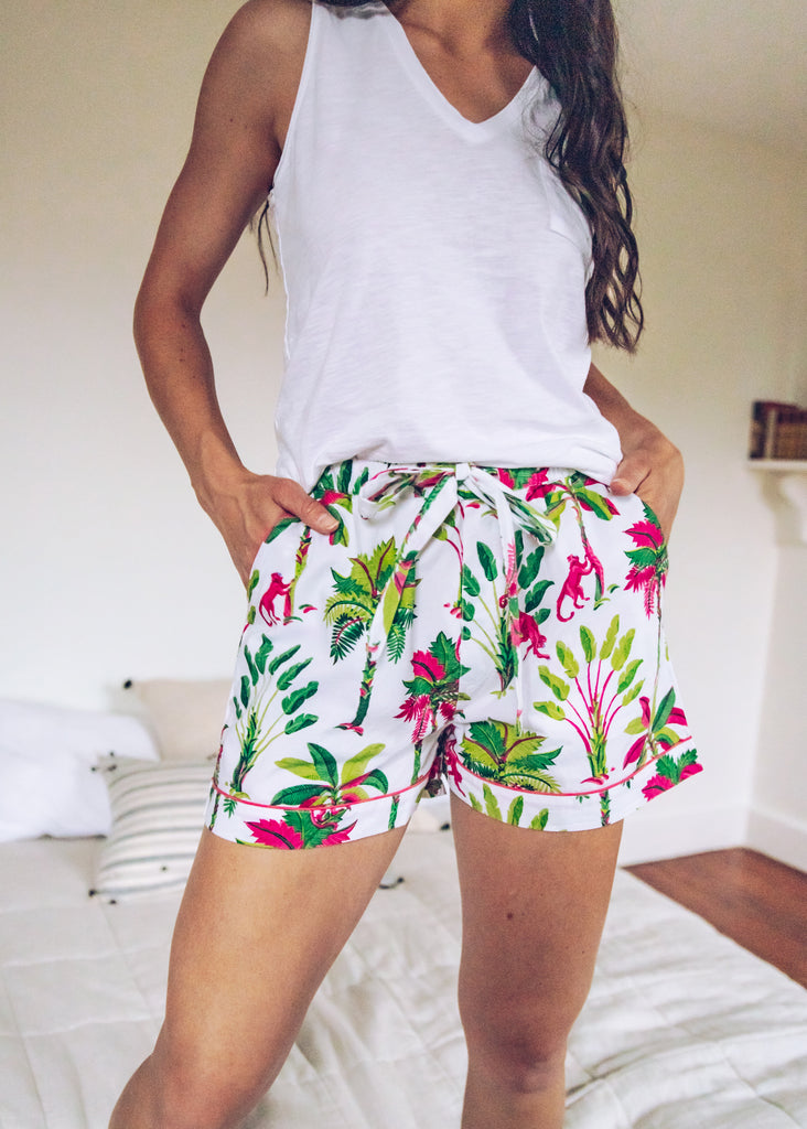 Royal Palms Pajama Shorts - Pink Basil