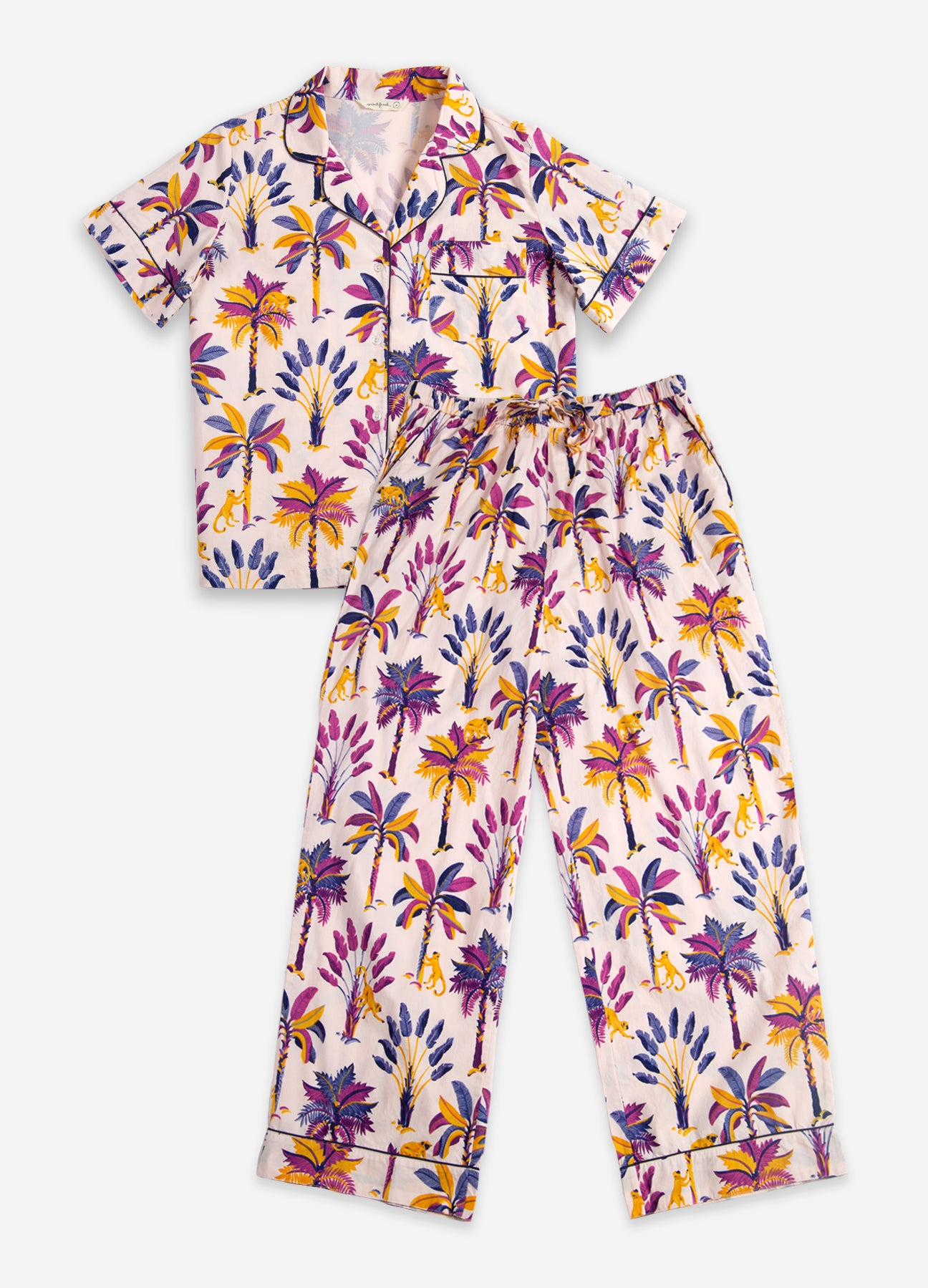 Royal Palms - Short-Sleeve/Pant Sleep Set - Amethyst