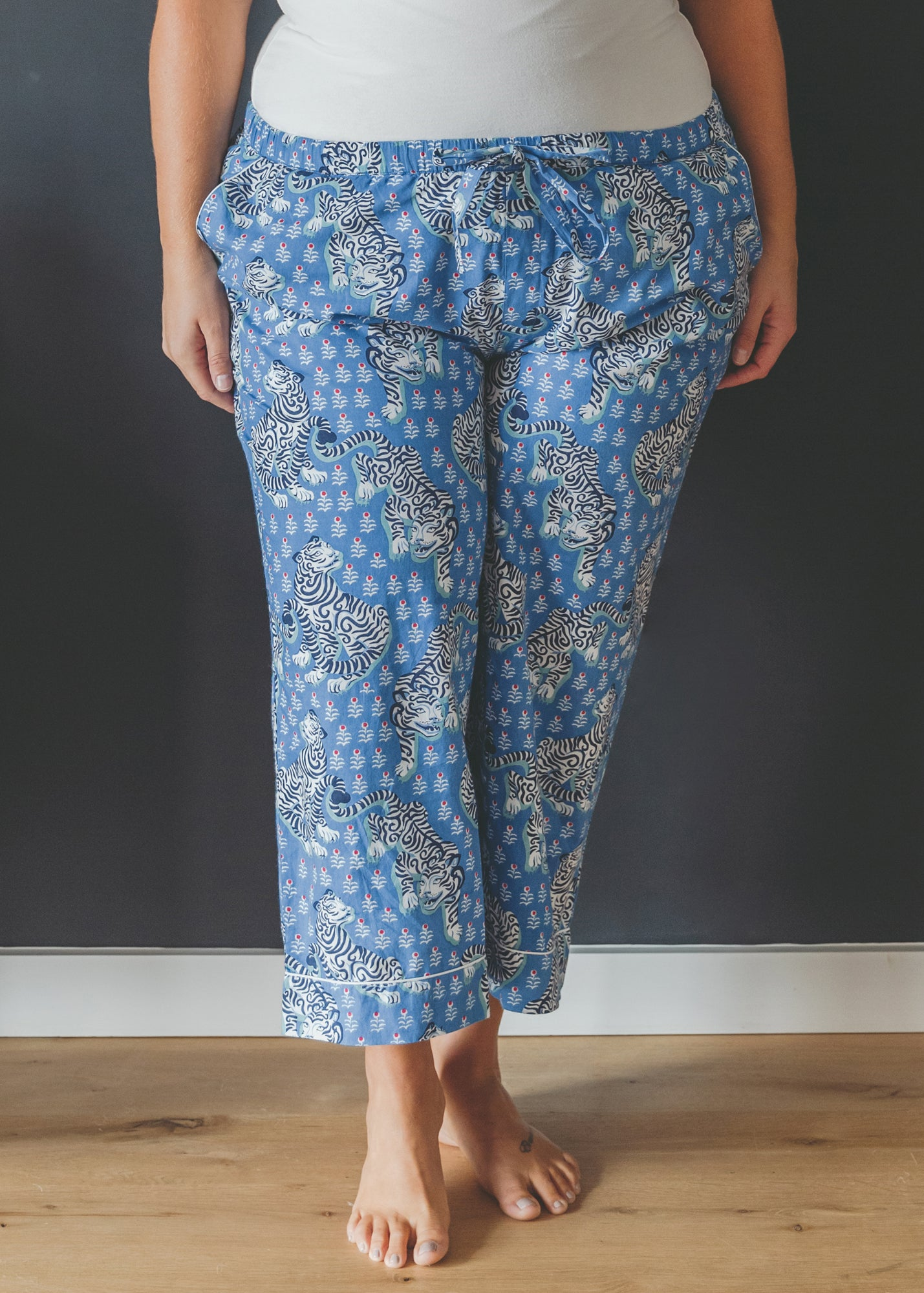 Tiger Queen - Cropped Pajama Pants - Cornflower