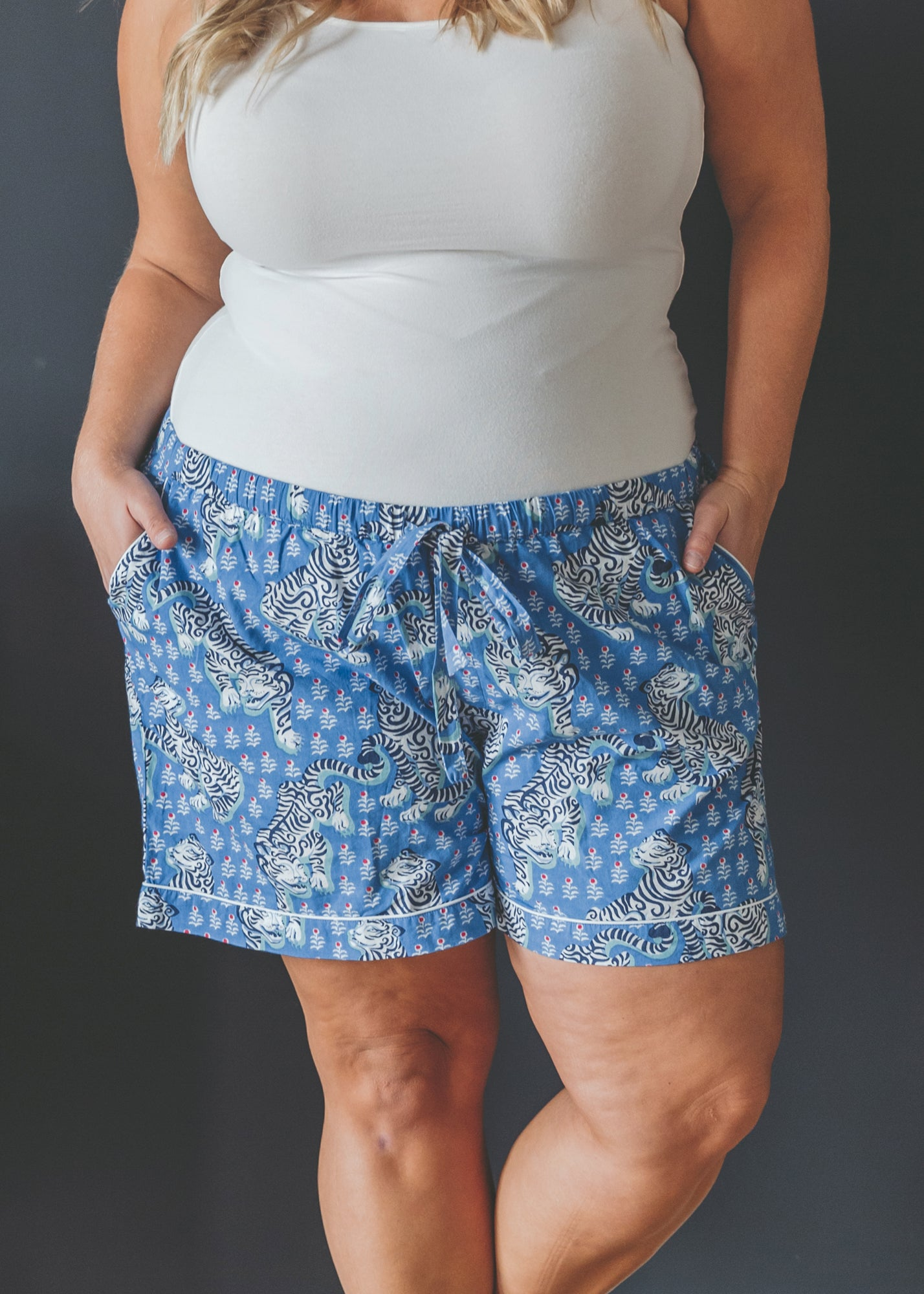 Tiger Queen - Pajama Shorts - Cornflower