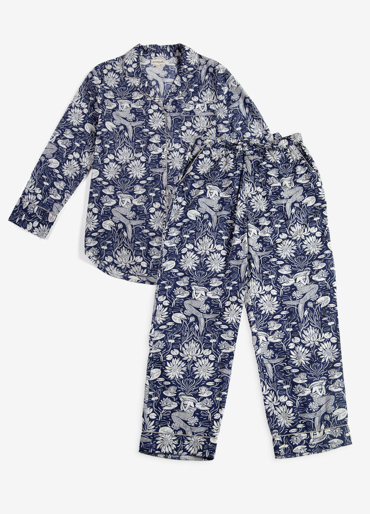 Water Lily Long Sleep Set - Indigo