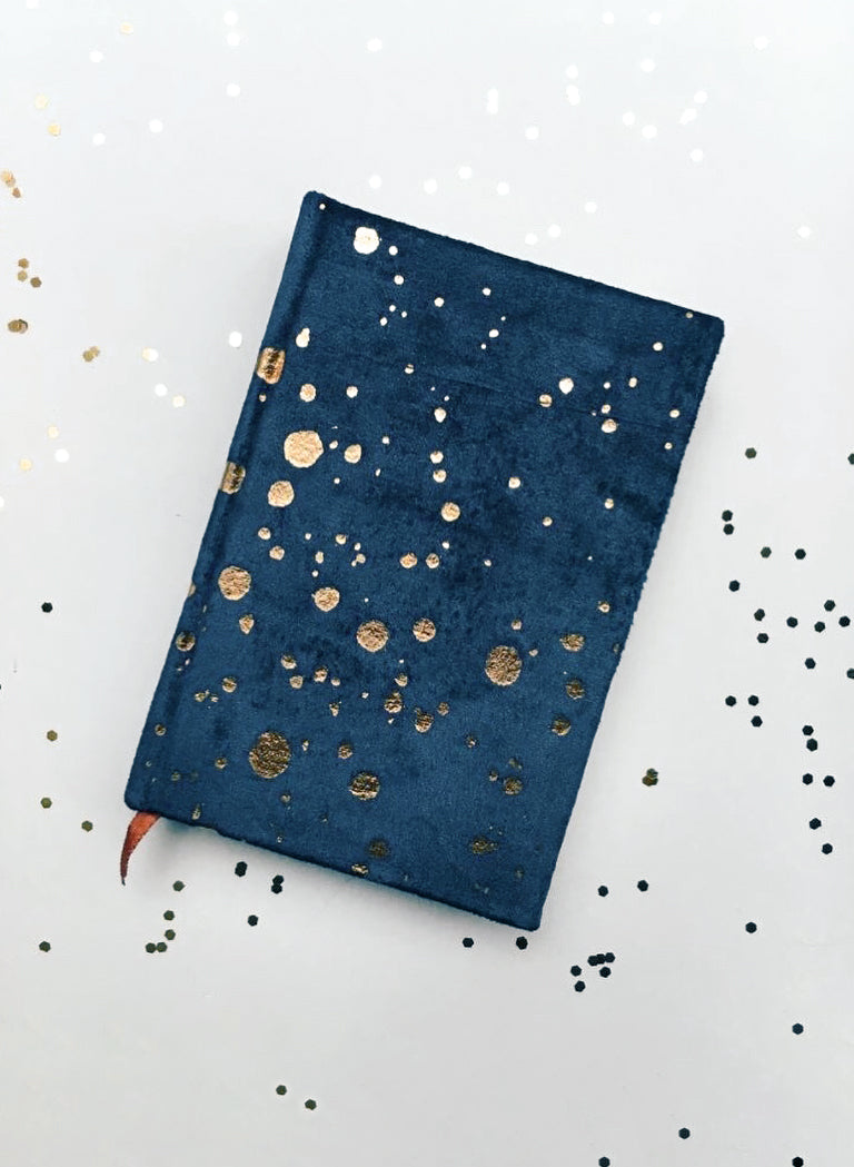 Paint Spatter - Small Velvet Journal - Navy