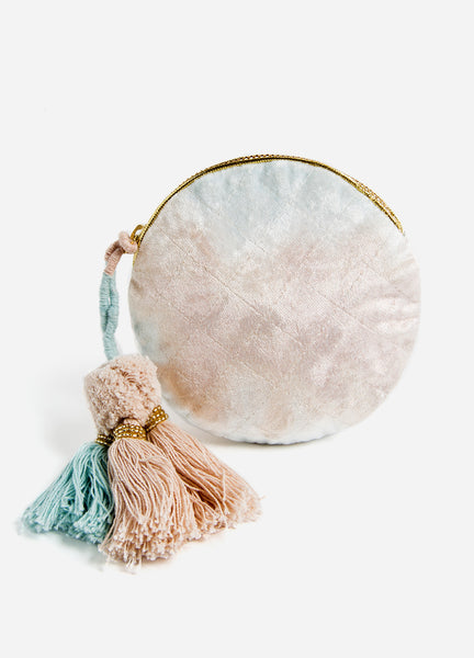 Blue + Blush Fade <br>Velvet Small Round Pouch