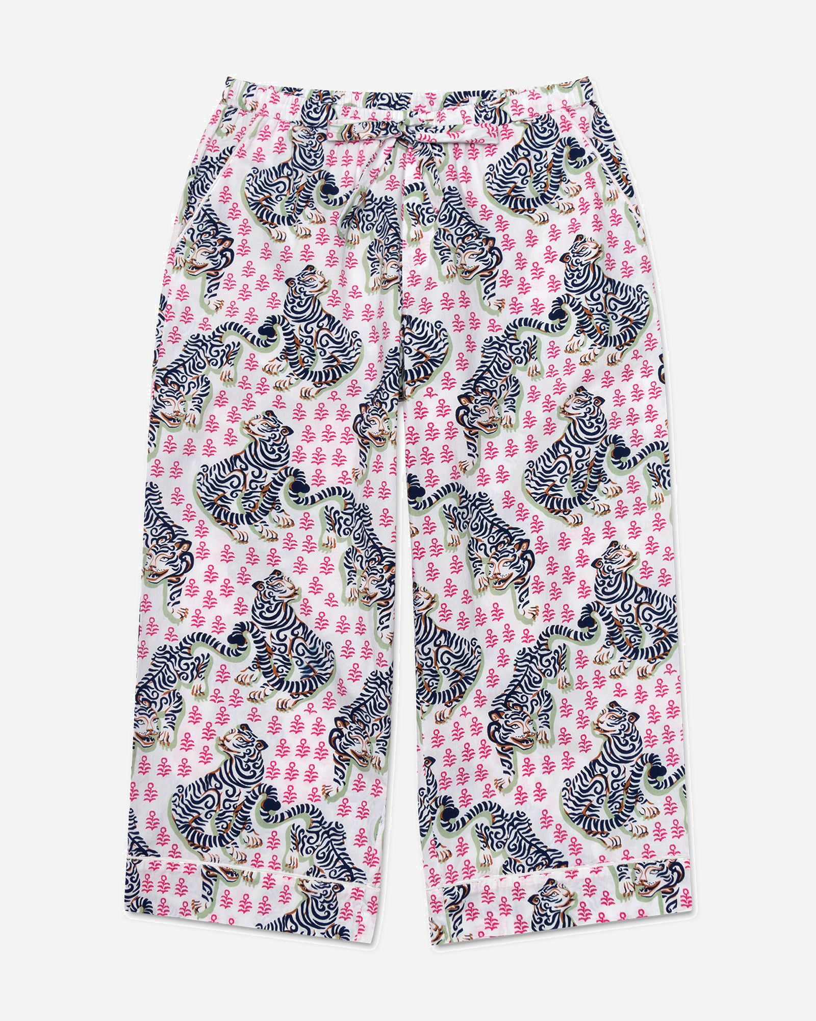 Tiger Queen - Cropped Pajama Pants - French Rose