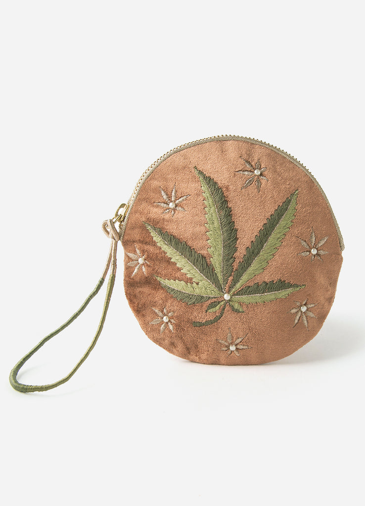 Just a Weed Small Round Embroidered Pouch