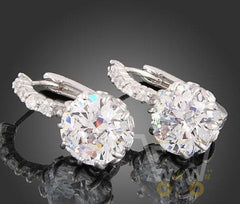 18k white Gold Plated Clear Crystal Earrings - WikiWii