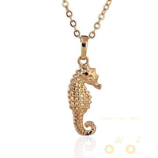 18K Yellow Gold Plated Sea Horse Necklace - WikiWii