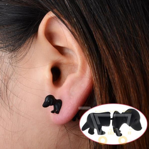 3D Puppy Dog , Black Jewelry Stud Earrings - WikiWii